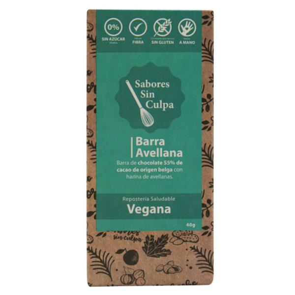 CHOCOLATE BARRA 55% CACAO AVELLANAS SIN AZÚCAR SIN GLUTEN (VEGANA) 80GR