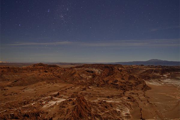 Vista nocturna Valle de la Luna