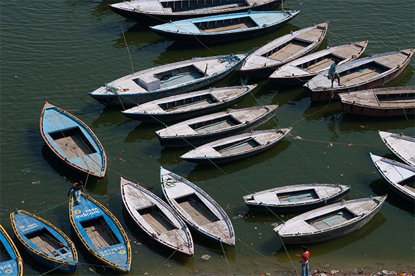 Botes en Varanasi