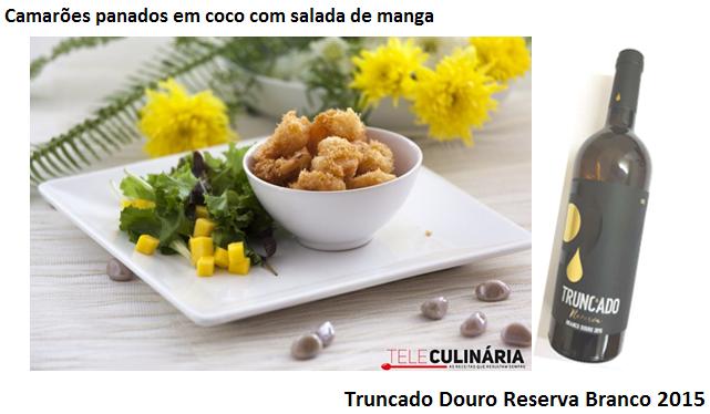 Sugestão do Dia : Camarões panados em coco com salada de manga