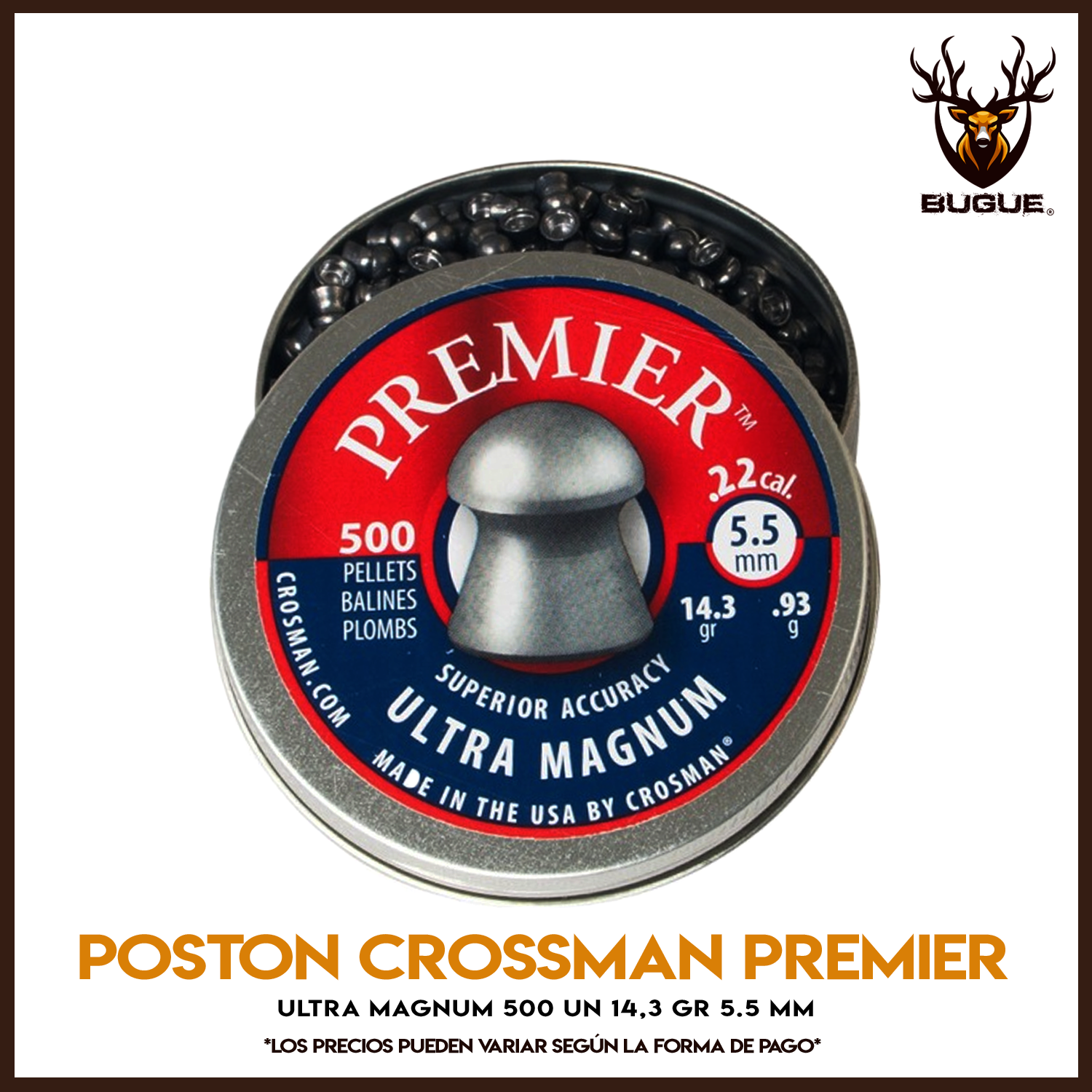 POSTON CROSSMAN PREMIER ULTRA MAGNUM 500 UN 14,3 GR 5.5 MM