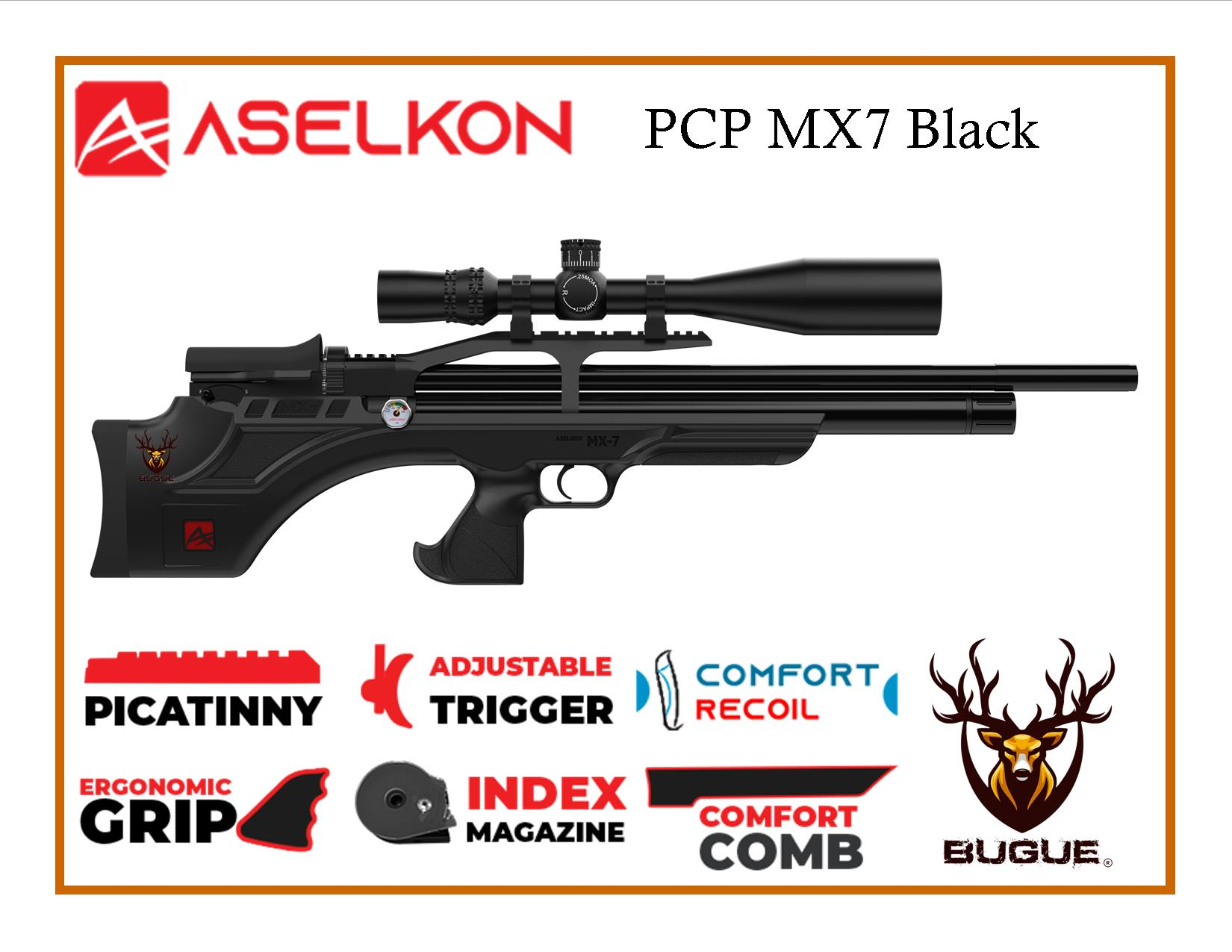 RIFLE PCP ASELKON MX7 BLACK 5.5 MM