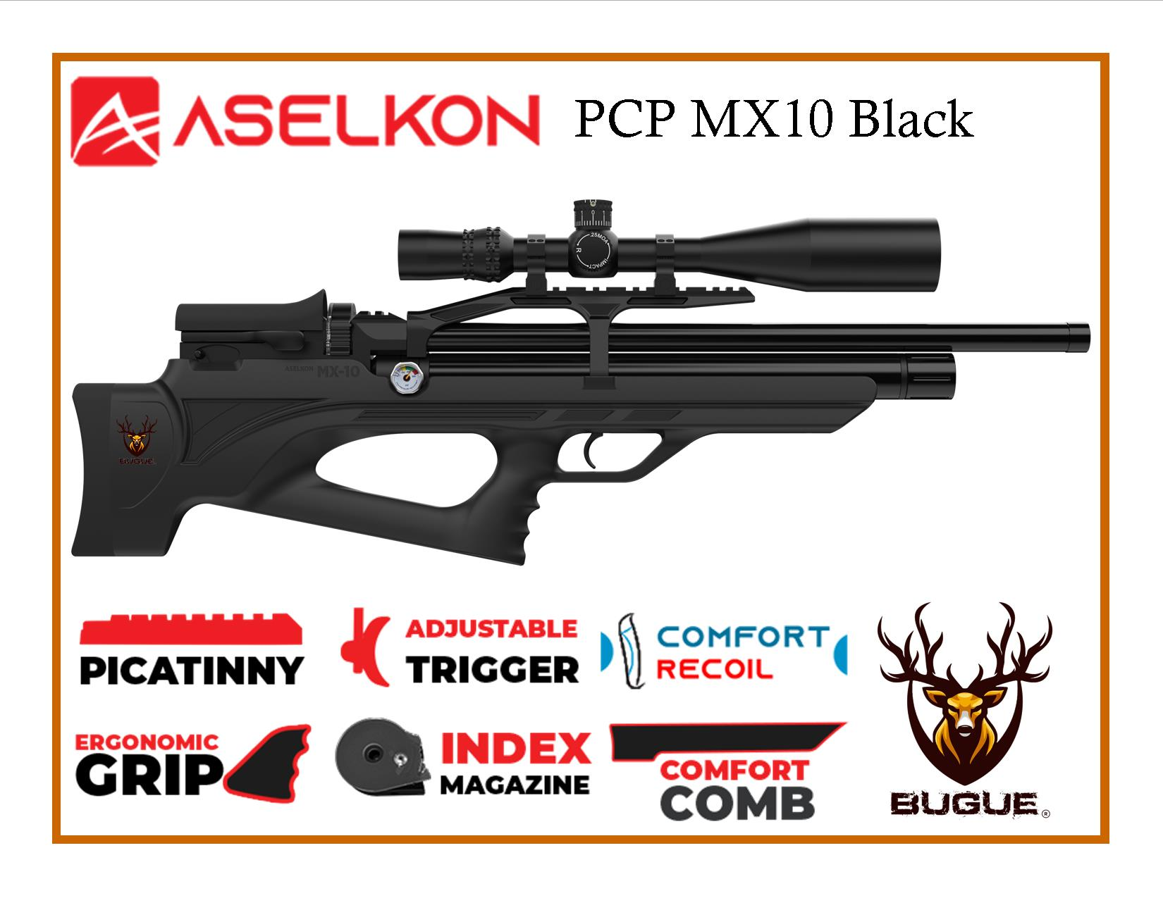 RIFLE PCP ASELKON MX10 BLACK CALIBRE 5.5 MM