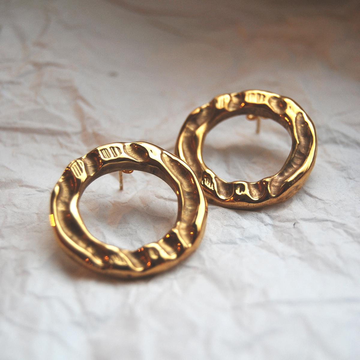 Textured circle earrings