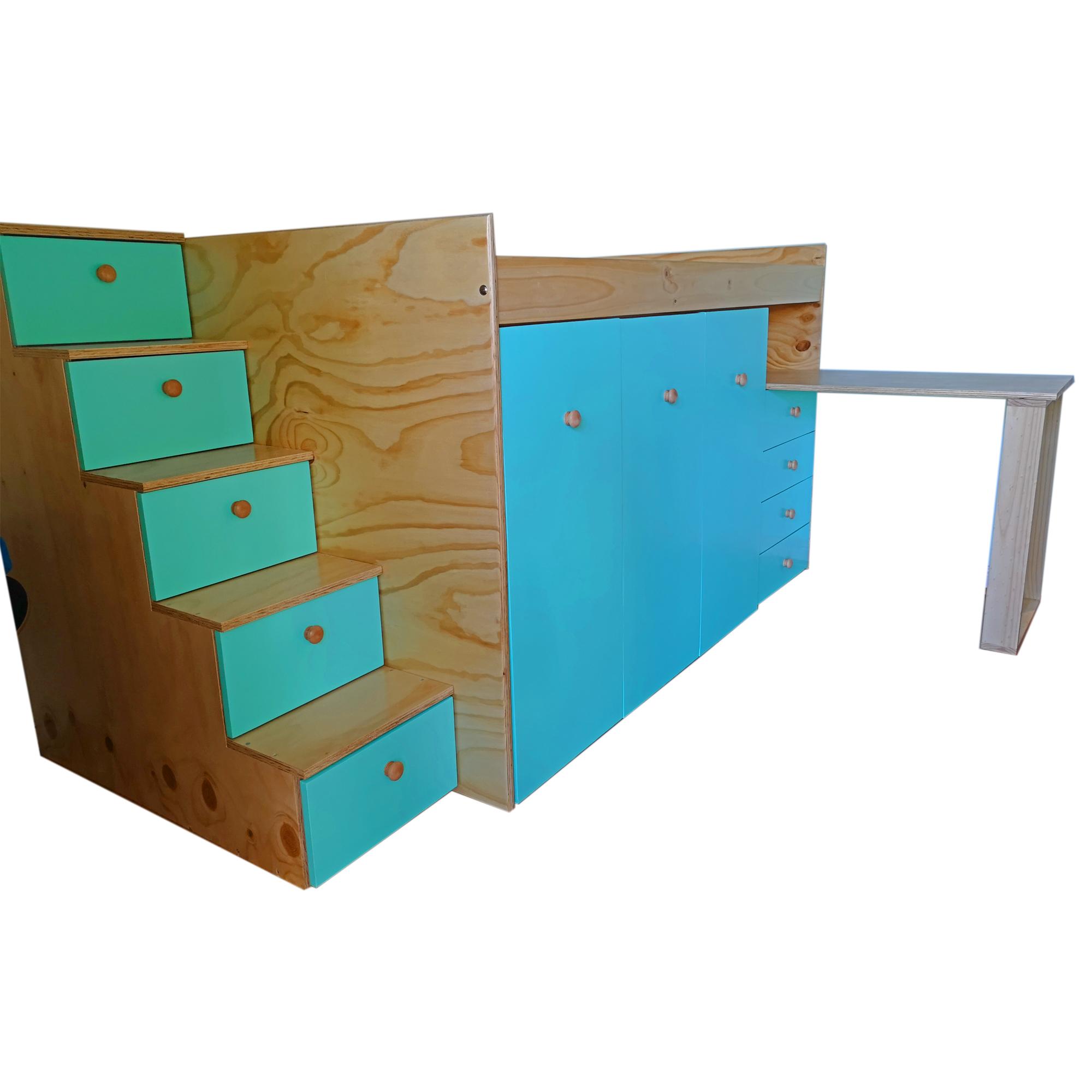 Camarote con colgador escritorio y escalera con cajones