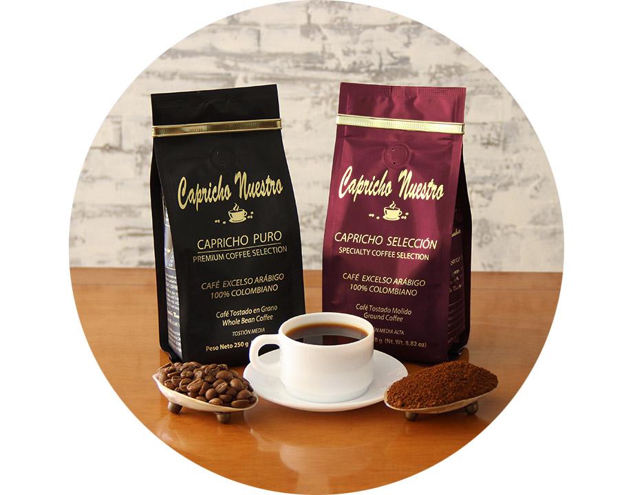 Café Puro Grano + Café Selección Molido 250g c/u