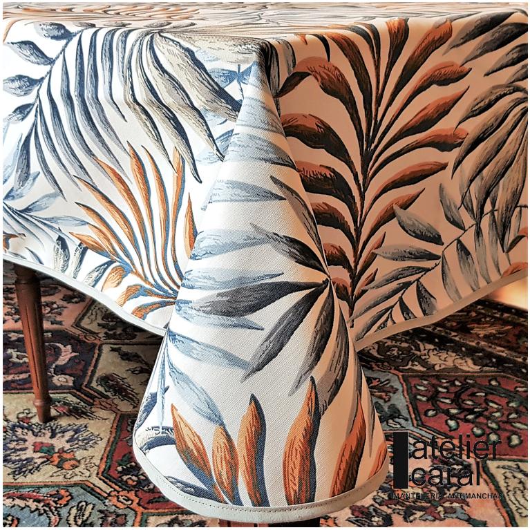 Mantel PALMERAS AZUL-ORO Rectangular 1,2x1,7m [porconfeccionar] [listoen5·7días]