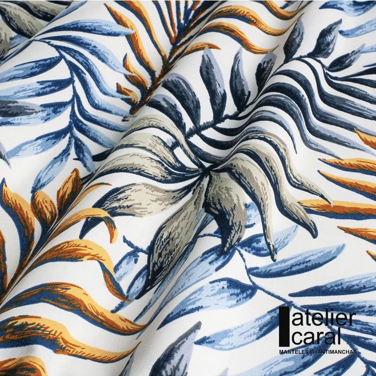 Mantel PALMERAS AZUL-ORO Rectangular 1,2x1,7m [retirooenvíoen 5·7díashábiles]
