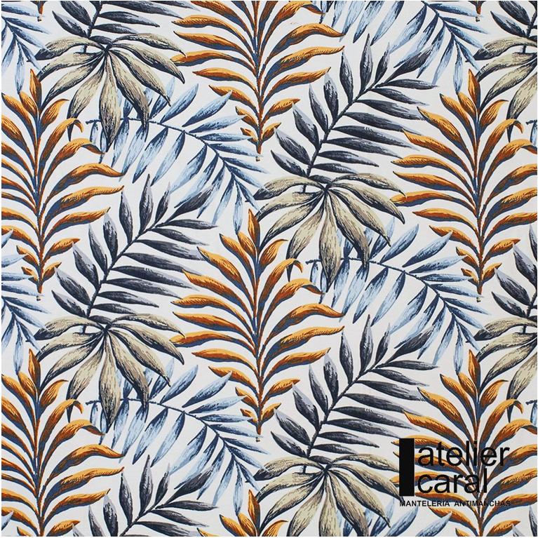 Mantel ⬛ PALMERAS AZUL-ORO ·1,8x1,8m· [enstockpara envíooretiro]