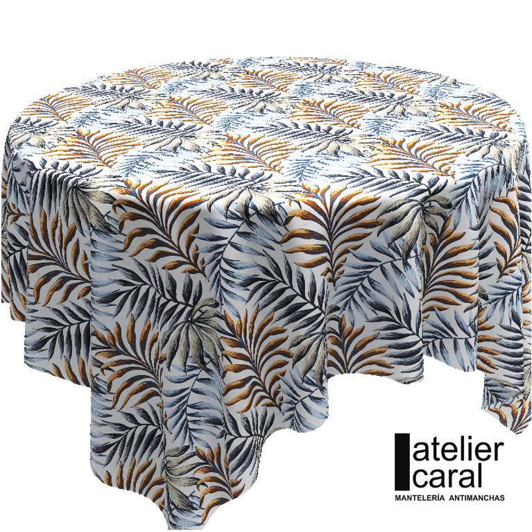 Mantel ⚫ PALMERAS AZUL-ORO diámetro150cm [enstockpara envíooretiro]