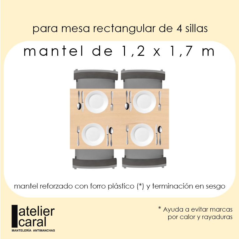 Mantel BISTROTGRIS Cuadrícula1,3cm Rectangular 1,2x1,7m [enstockpara envíooretiro]