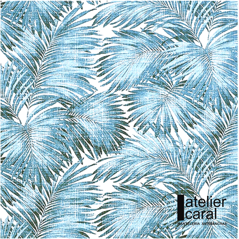 Mantel PALMERAS AZUL Rectangular 1,5x2,1m [enstockpara envíooretiro]