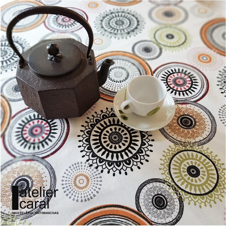 Mantel MANDALAS CAFÉS · Rectangular 12 Sillas