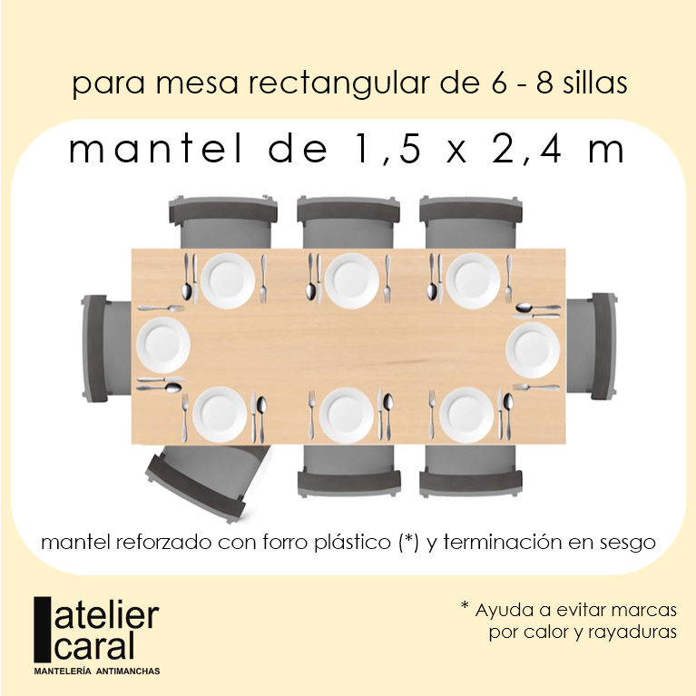 Mantel LUNARES en GRIS · Rectangular 6-8 Sillas