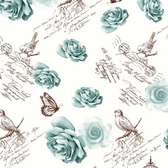 Mantel ROSAS y TRINOS VERDE · Rectangular 6 Sillas