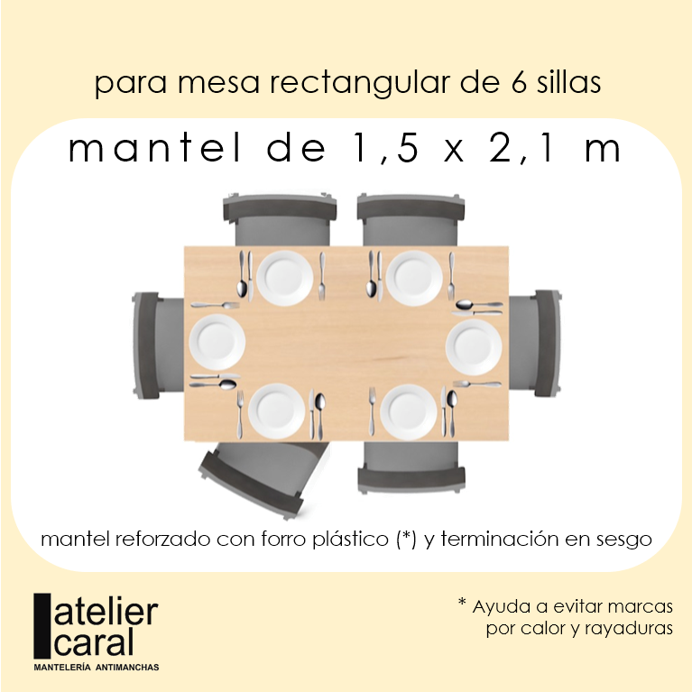 Mantel BISTROT CELESTE Cuadros Grandes (4 cm) · Rectangular 6 Sillas