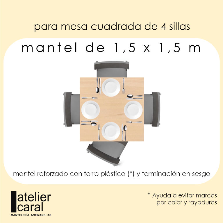 Mantel FLORAL AMANDINA CALIPSO ⬛ Cuadrado 4 Sillas