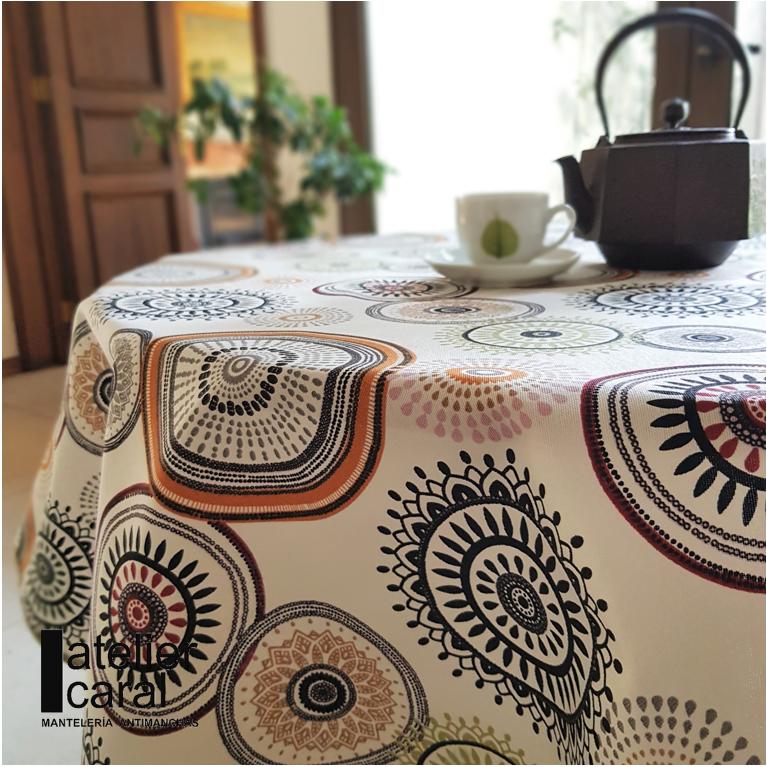 Mantel MANDALAS CAFÉS · Rectangular 10 Sillas