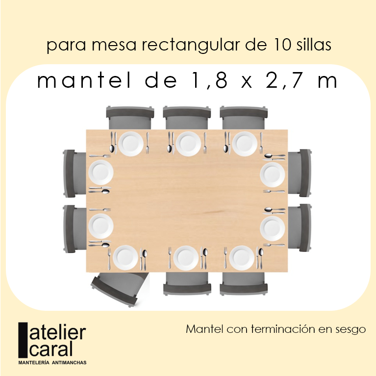 Mantel VENECIA en CELESTE · Rect 10 Sillas
