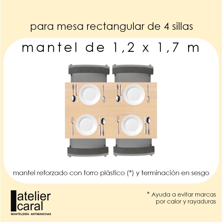 Mantel ROSAS y TRINOS LILA · Rectangular 4 Sillas