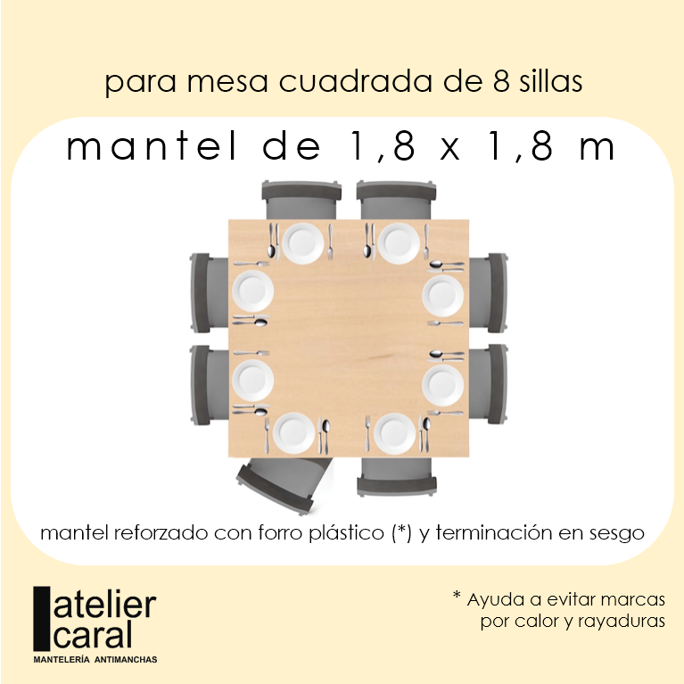 Mantel PAJARITOS ROJOS ⬛ Cuadrado 8 sillas