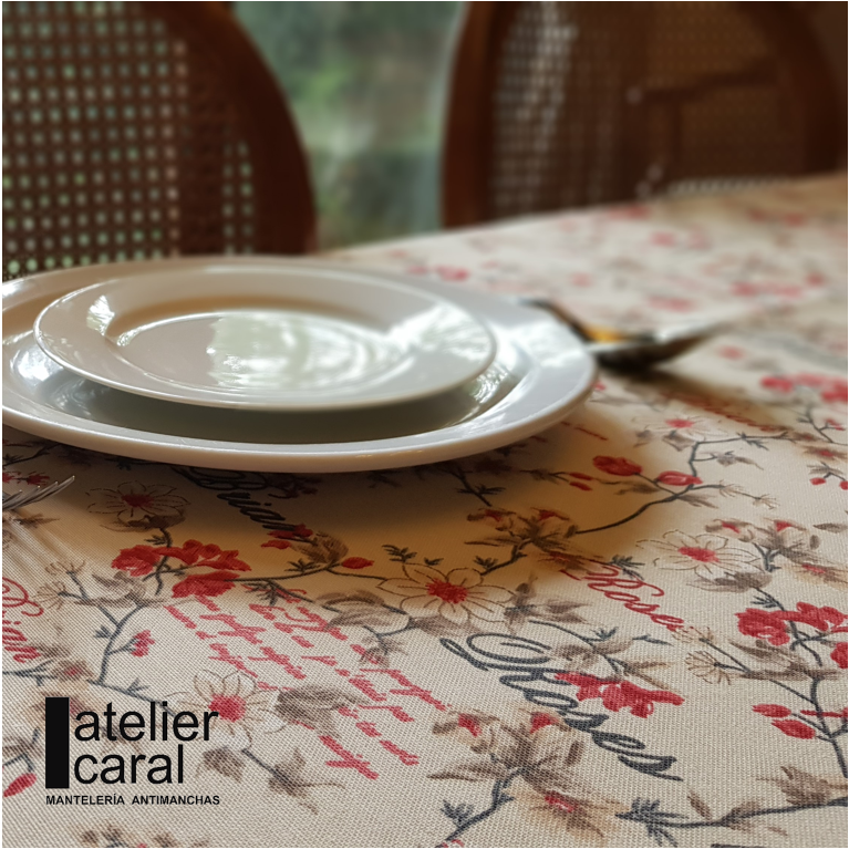 Mantel ROSES for BRIAN ROJO ⬛ Cuadrado 4 Sillas