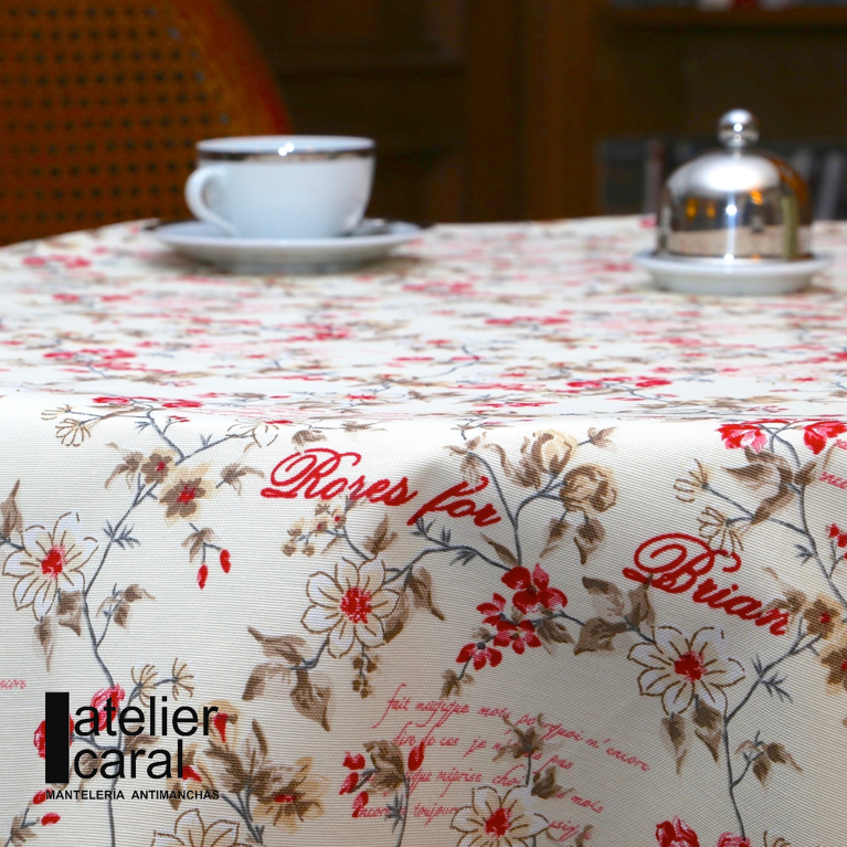 Mantel ROSES for BRIAN ROJO · Rectangular 12 Sillas