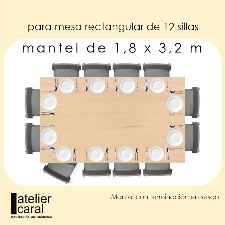Mantel GRIS Color Liso · Rectangular 12 Sillas