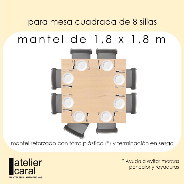 Mantel BISTROT AZUL Cuadro Grande ⬛ Cuadrado 8 Sillas