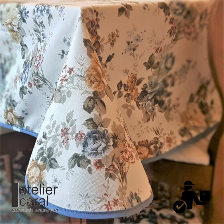 Mantel ROSAS de VERSALLES Azul Petróelo ⬛ Cuadrado 8 Sillas