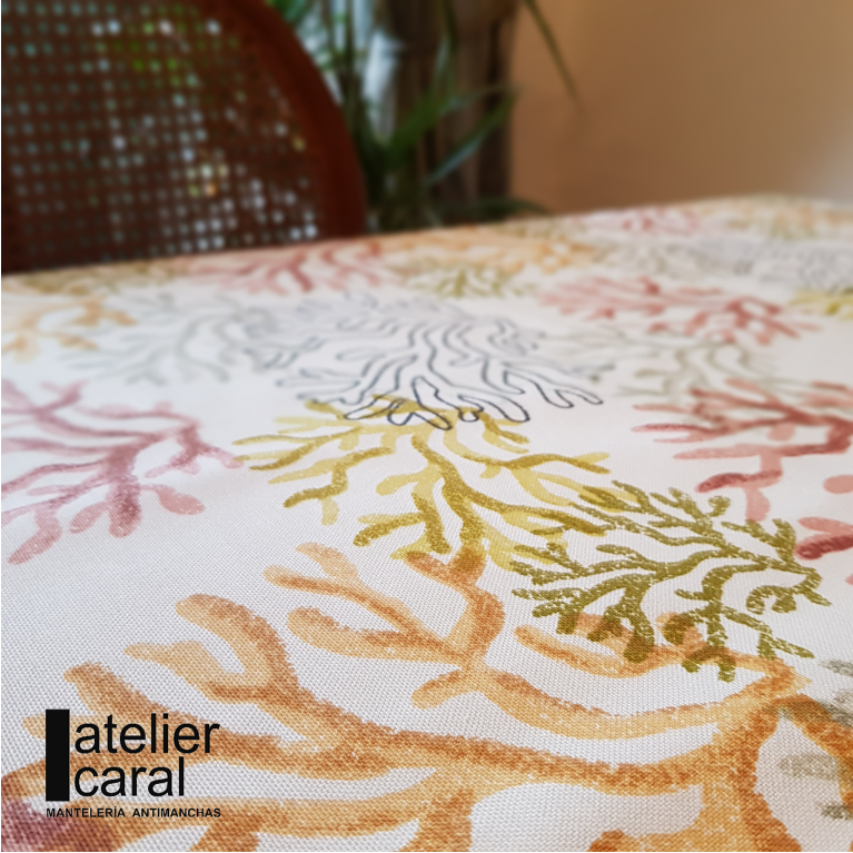 Mantel CORAL MULTICOLOR · Rectangular 12 Sillas