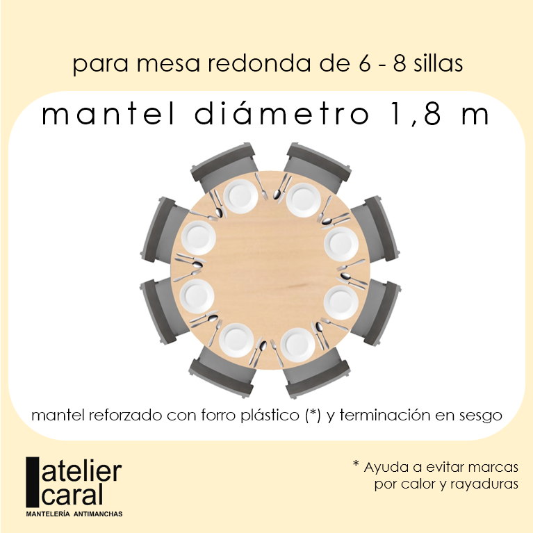 Mantel BISTROT GRIS Cuadro Chico ⚫ Redondo 6-8 Sillas
