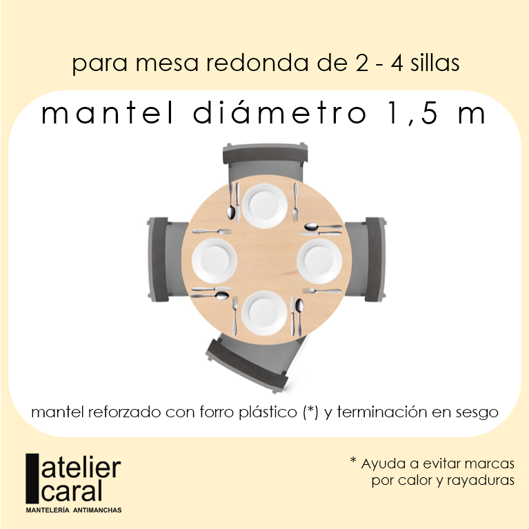 Mantel RAYAS en NEGRO ⚫ Redondo 2-4 Sillas