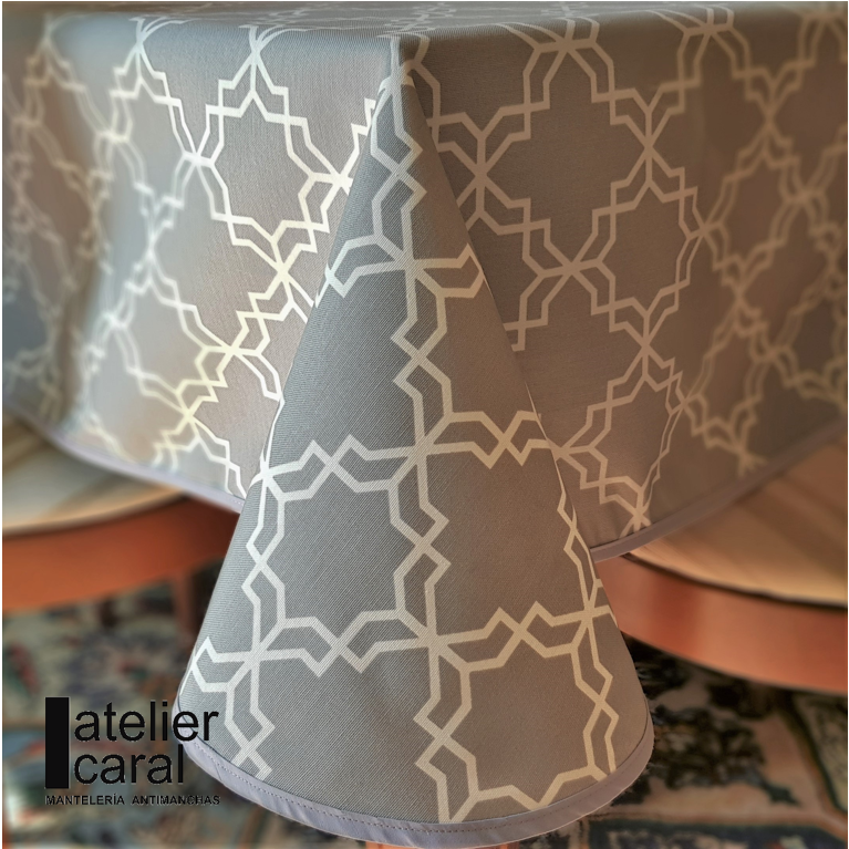 Mantel KHATAM GRIS · Rectangular 6 Sillas