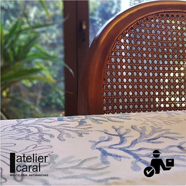 Mantel CORAL AZUL · Rectangular 10 Sillas
