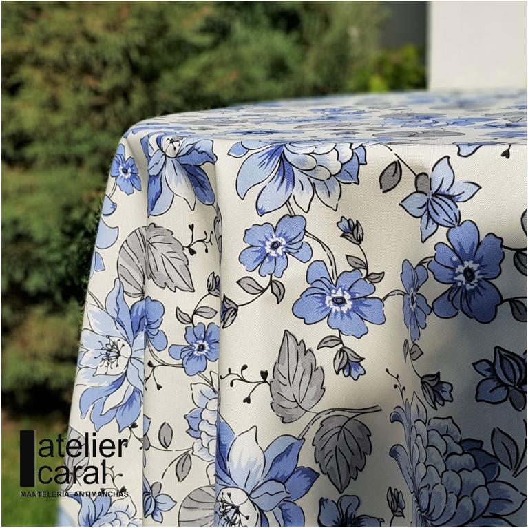 Mantel FLORAL CELESTE · Rectangular 10 Sillas