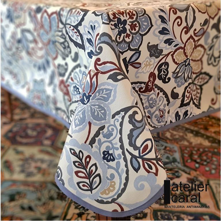 Mantel FLORAL PROVENZAL Azul · Rectangular 12 Sillas