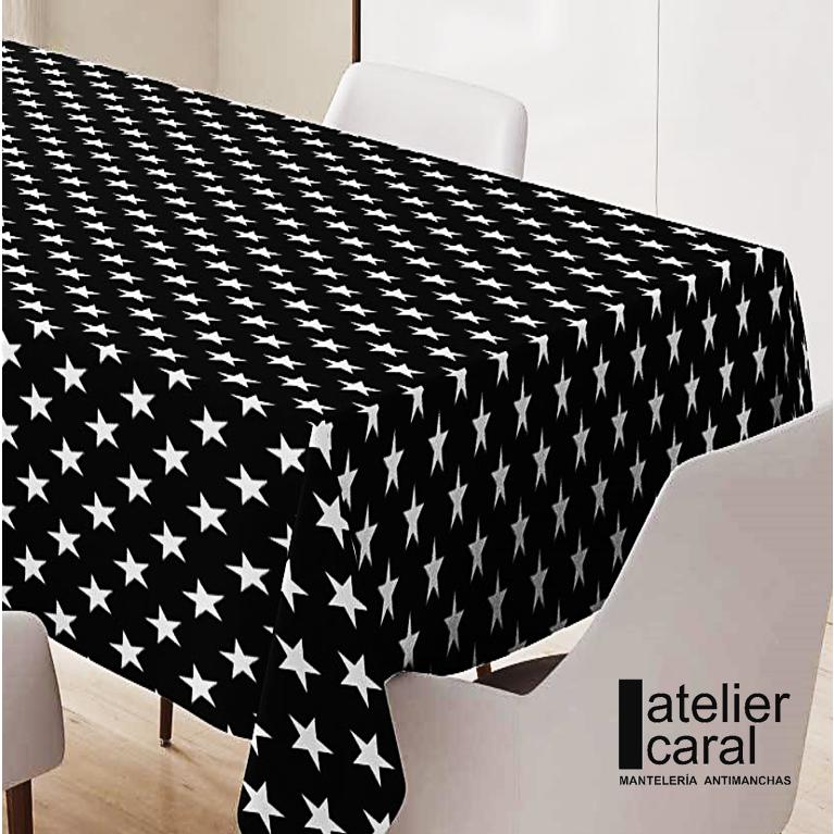 Mantel ESTRELLAS enNEGRO Rectangular 1,5x2,4m [enstockpara envíooretiro]