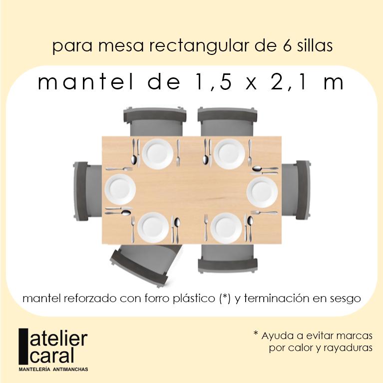 Mantel HOJAS VERDES · Rectangular 6 Sillas