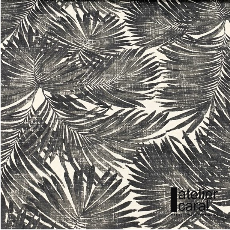Mantel ⚫ PALMERASNEGRO diámetro180cm [porconfeccionar] [listoen5·7días]