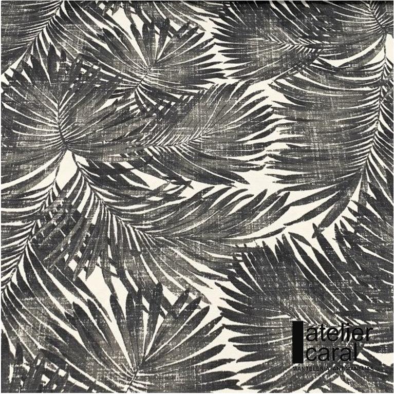 Mantel ⚫ PALMERASNEGRO diámetro180cm [retirooenvíoen 5·7díashábiles]
