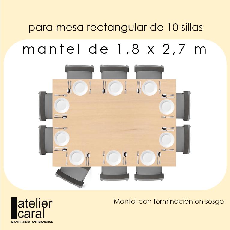 Mantel FLORAL Azul Piedra · Rectangular 10 Sillas