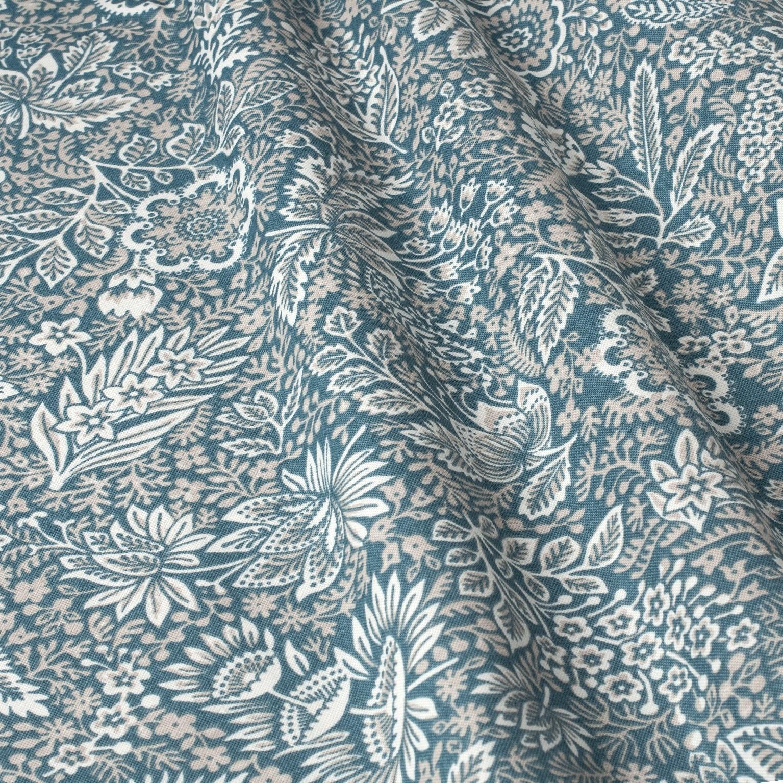 Mantel FLORAL Azul Piedra ⚫ Redondo 6-8 Sillas