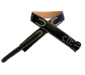 Cinturón De Cuero Bayo Negro Cosido A Tiento