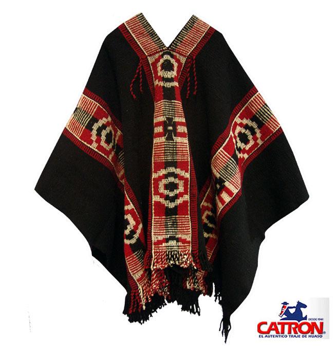 Poncho Mapuche Negro Diseño Antiguo