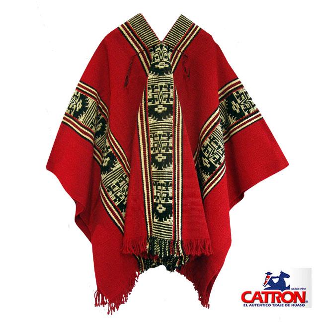 Poncho Mapuche Rojo Diseño Antiguo