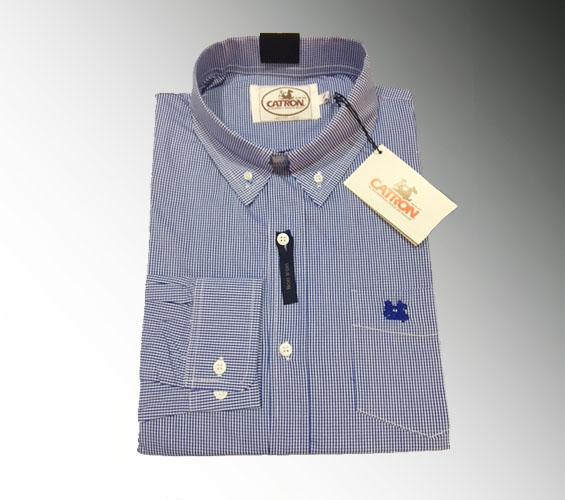 Camisa azul cuadro pequeño