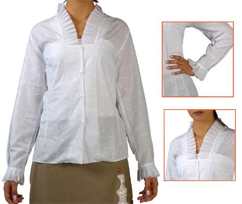 Blusa Plisada blanca