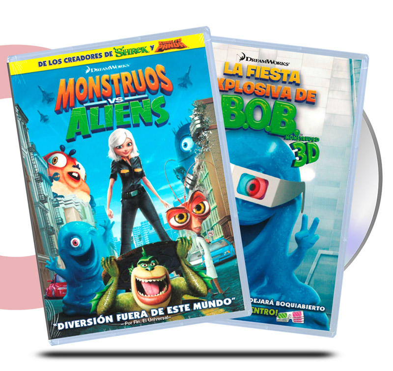DVD Pack Monstruos vs Aliens / Bob's La Fiesta Explosiva