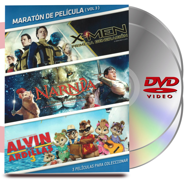 DVD Pack Maratón Vol :3 X-Men 1era Generación / Narnia / Alvin
